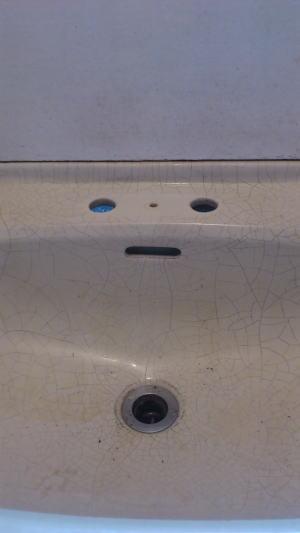 ▼洗面台から混合栓を取り外したところ