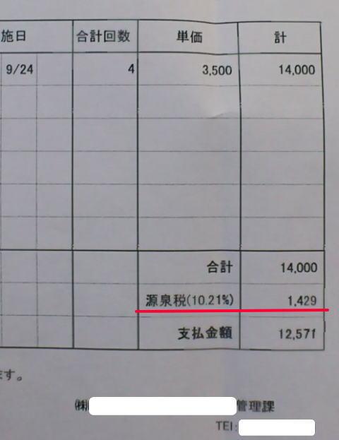 源泉所得税が天引きされている給与明細