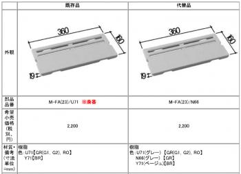 ユニットバスの排水口の目皿の部品番号は『M-FA(23)/N66』