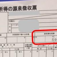 アルバイト先届いた源泉徴収票(源泉徴収額あり)