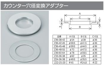KVK製『カウンター穴径変換アダプター』はサイズ違いが何種類かあります