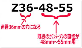品番の数字が対応する取り付け穴径と既設のカウンター穴径を表しています。