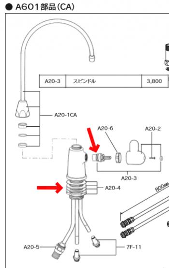 初期型『A601(スピンドルはA20-3)』:カウンターの裏からナットで取り付け